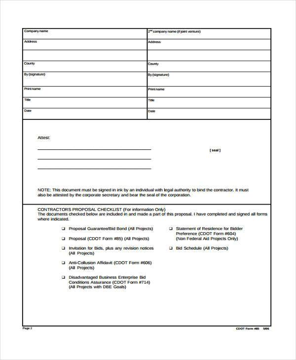 9  contractor proposal form samples