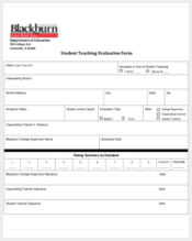 teacher evaluation form for students
