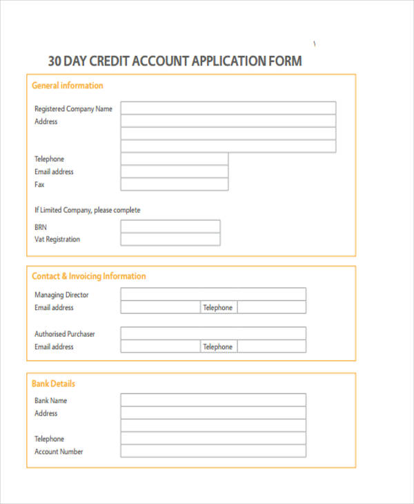 30 day credit account application form