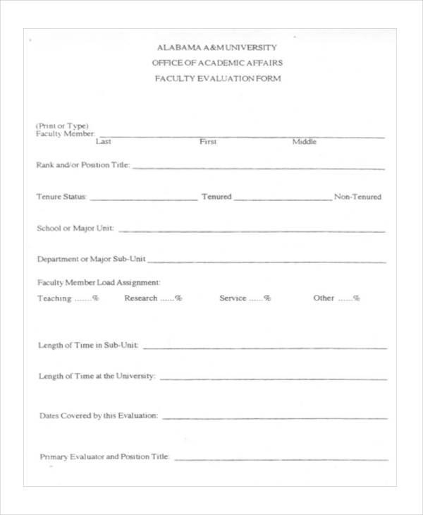 Sample Faculty Evaluation Form 11+ Free Documents in Word, PDF