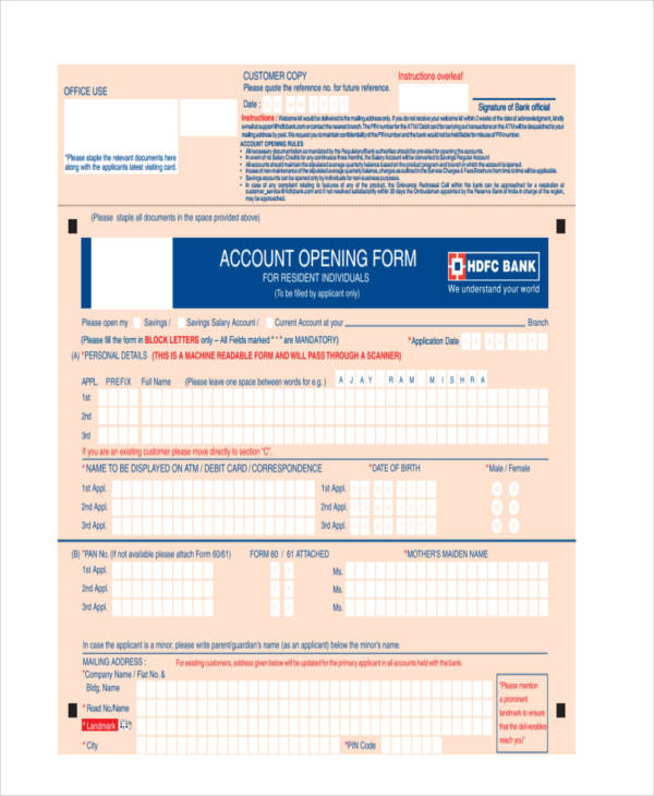 account opening application