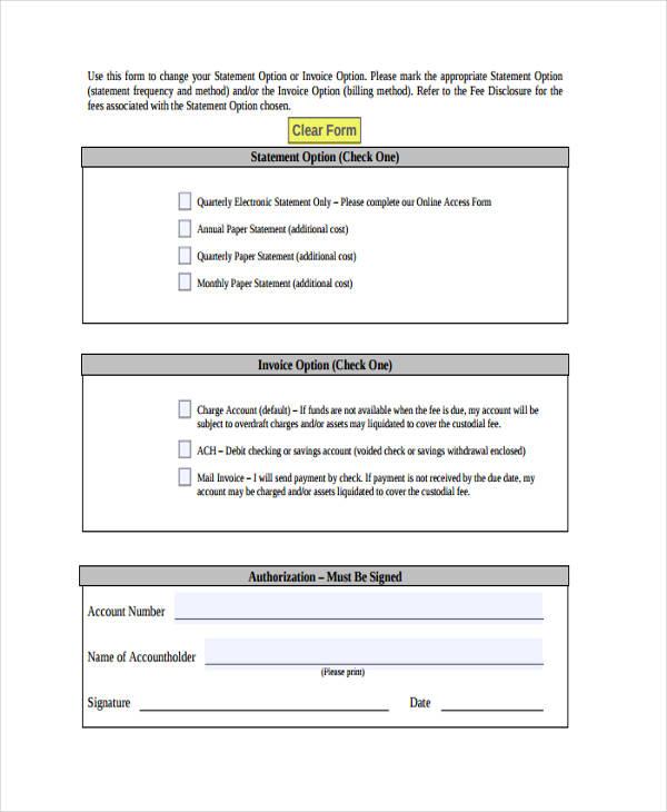 account statement invoice option change