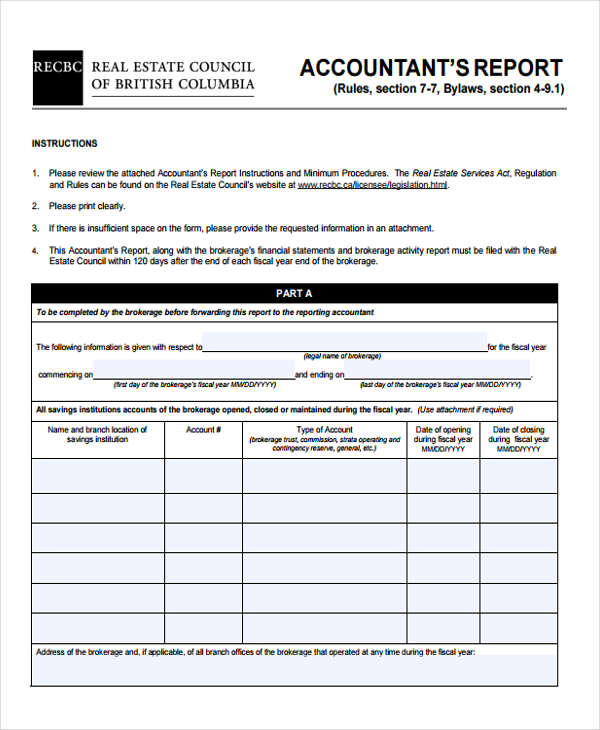 accountants report 6  Account Report Form Sample - Free Sample, Example Format Download