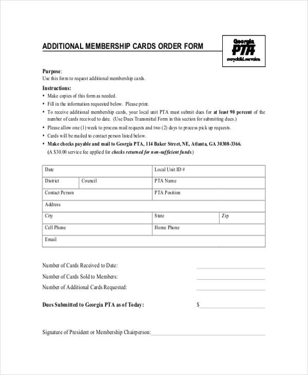 additional card order form