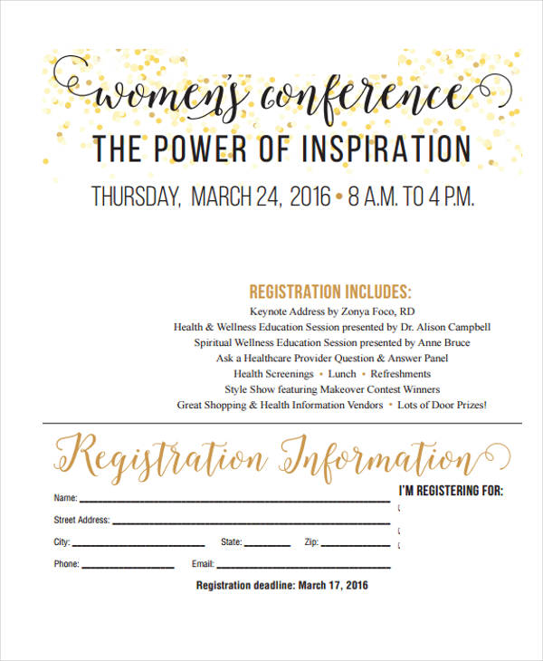 adults womens conference registration form