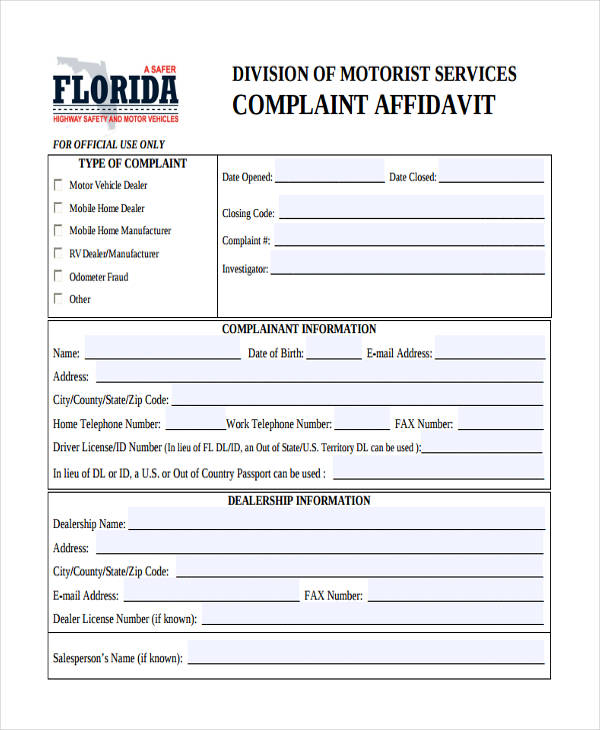 "complaint affidavit Welcome to complaint assistant choose a complaint category on the left choosing a complaint category will present several sub-categories if you can't find a match select the ""no match found"" option and we will categorize your complaint for you."