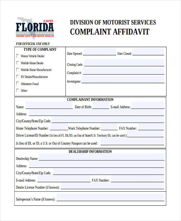 What is a Complaint Affidavit?