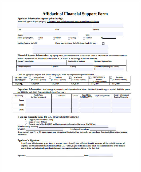 9 affidavit support form sample free sample example format download. Black Bedroom Furniture Sets. Home Design Ideas