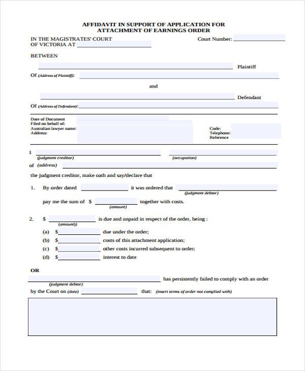 affidavit support attachment earnings form