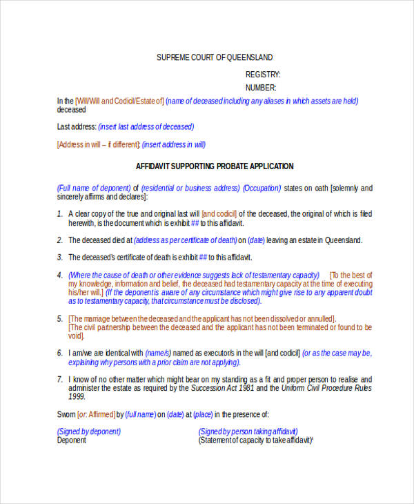 affidavit support probate application form