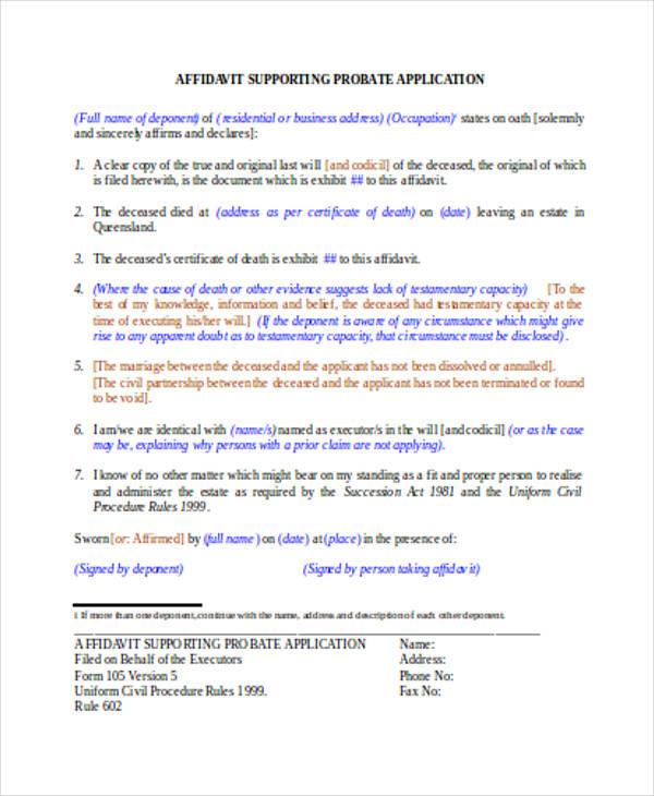 affidavit support probate form sample