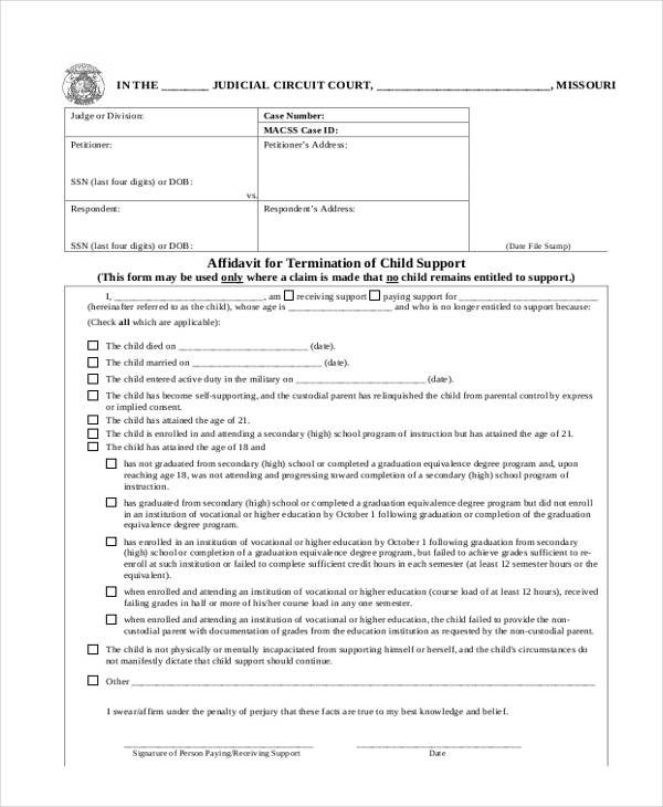 affidavit termination child support form