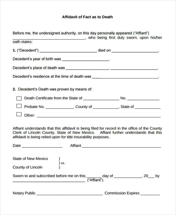 Affidavit Of Fact  Affidavit Of Fact Template
