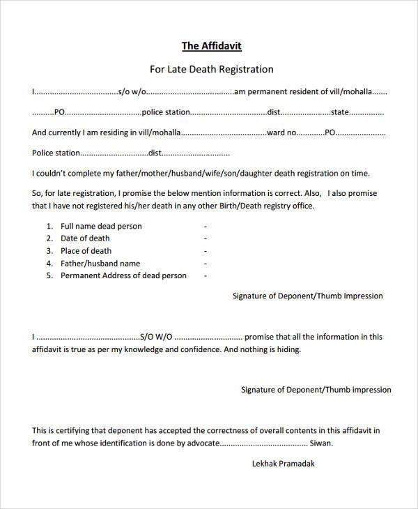 affidavit of late registration