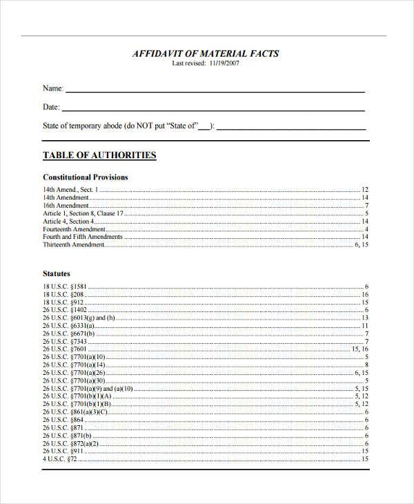 affidavit of material fact