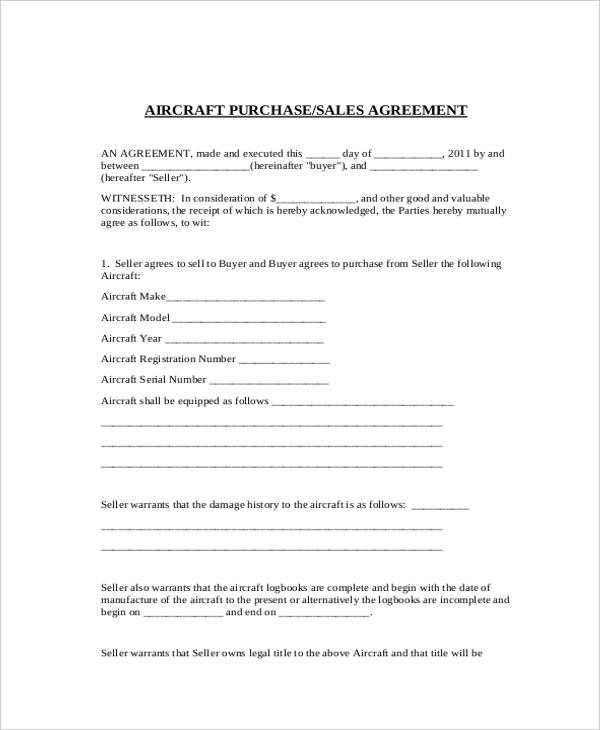 Aircraft Purchase/Sales Agreement Form  Free Sales Agreement Template