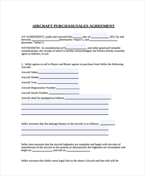 aircraft purchase sales agreement form1