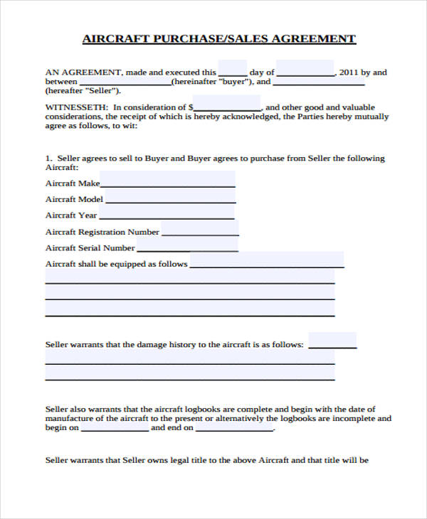 aircraft purchase sales agreement form2