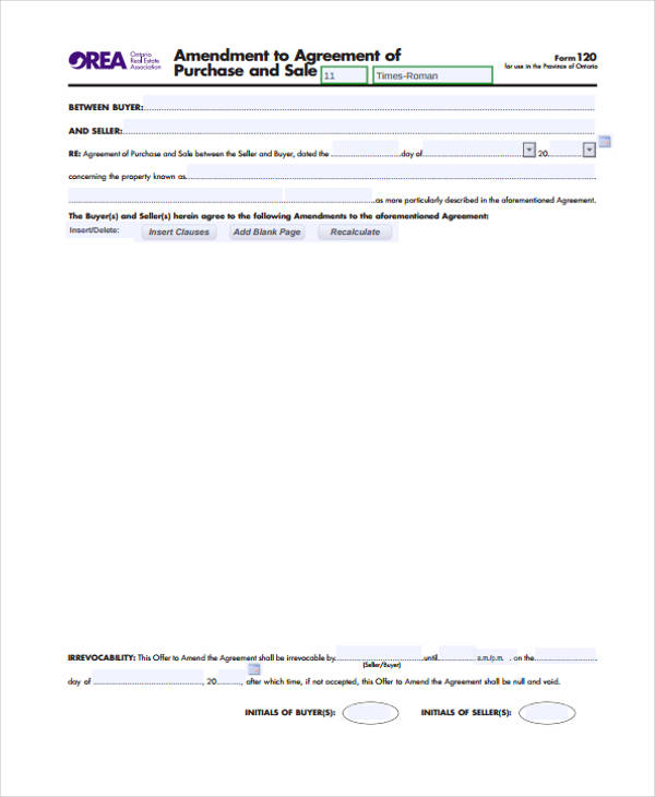 Sales Agreement Form In