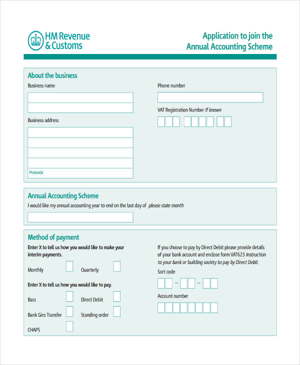 Application Accounting Form Sample  Free Sample Example