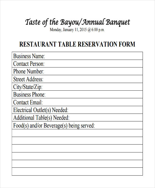 Restaurant Reservation Form Samples Free Sample Example - Table reservation in restaurant
