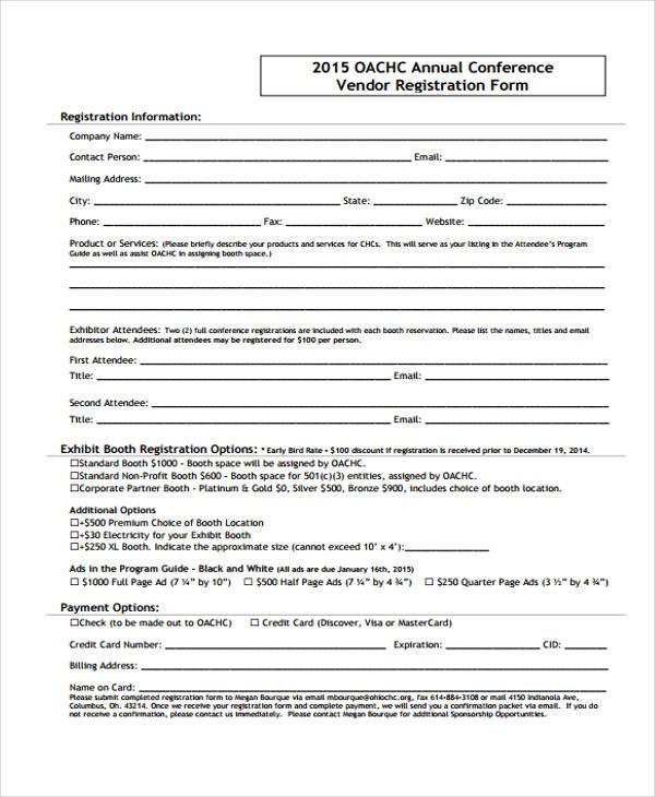 annual conference vendor registration form