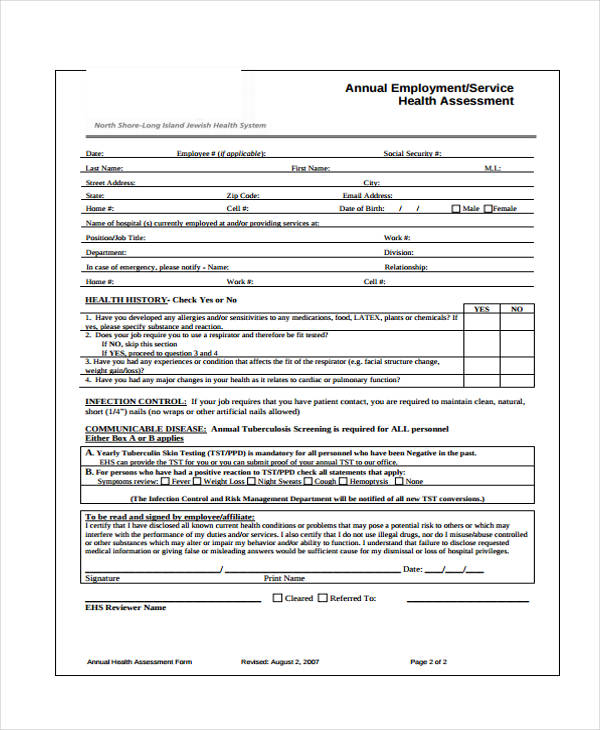 annual employee health assessment form1