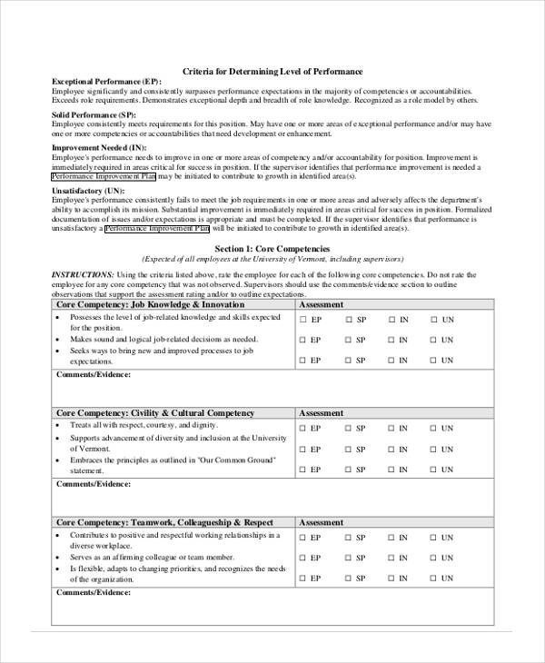 Employee Review Form In Pdf