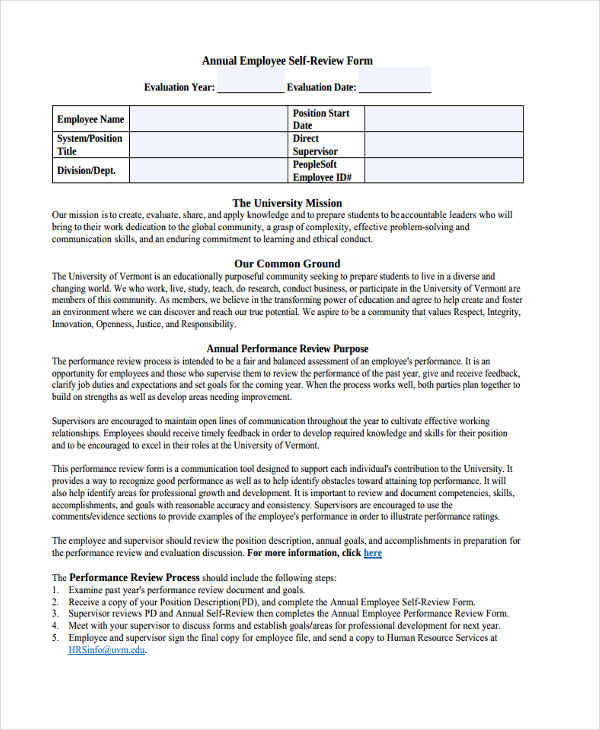 annual employee self review form1