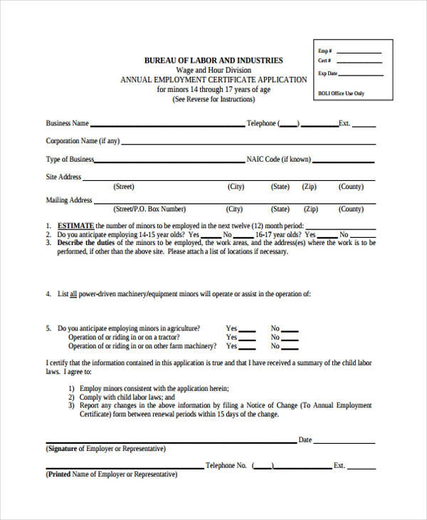 Annual-Employment-Certification-Form Job Application Form Sample on personal statement for, letter for fresher high school graduate, form for un, letter introduction for, quad graphics, letter intent, approved information for,