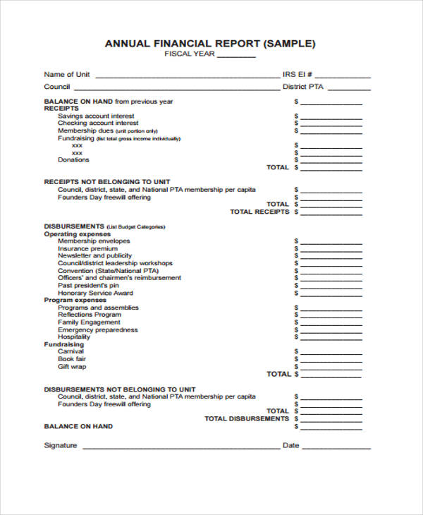 annual financial report form