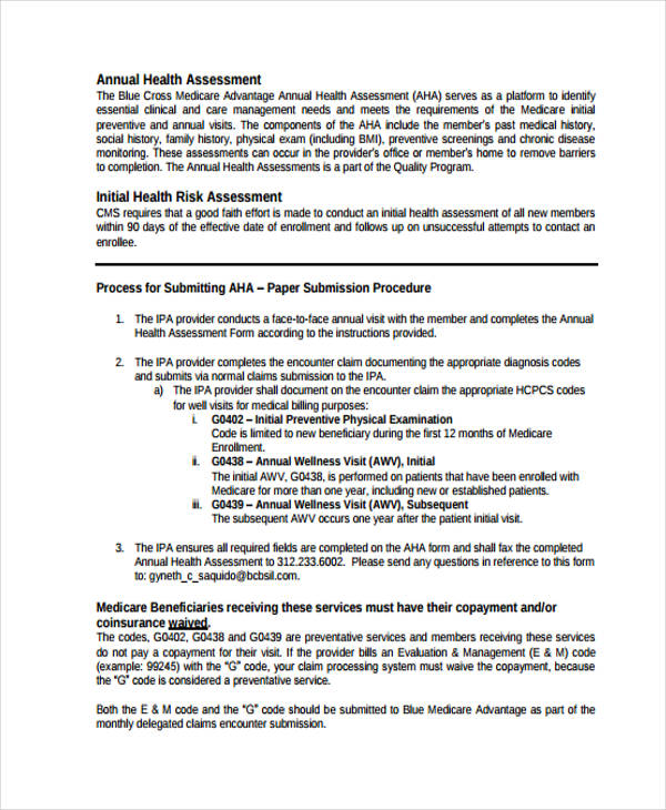 annual health risk assessment form