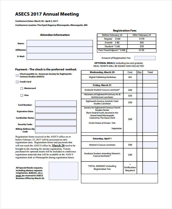 annual meeting conference registration form