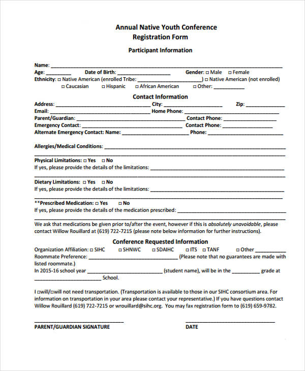 annual native youth conference registration form