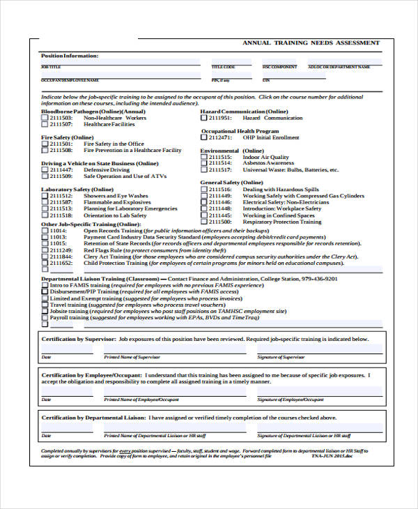 annual training needs assessment form1