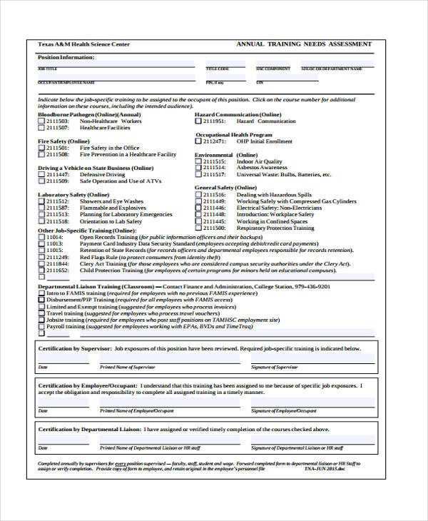 annual training needs assessment form2