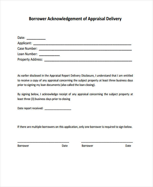 appraisal delivery disclosure form