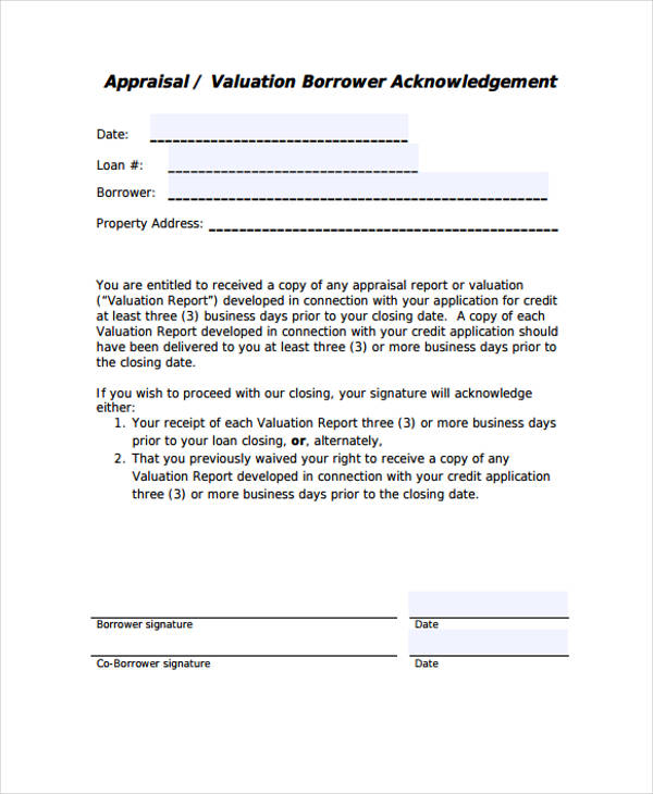 Sample Appraisal Disclosure Form  Free Sample Example Format