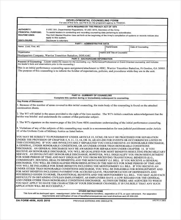 army developmental counseling form