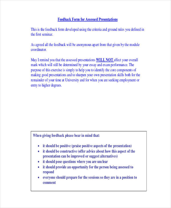 21 Sample Presentation Feedback Forms