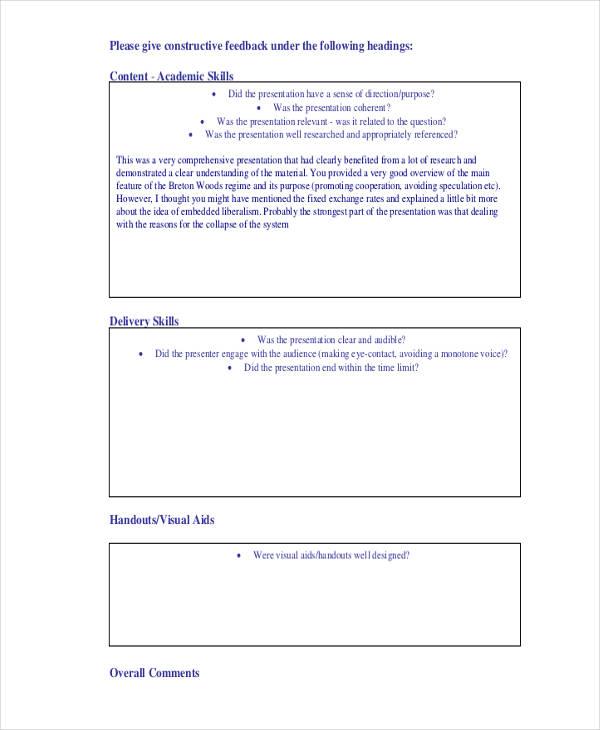 assessed presentation skills feedback form1