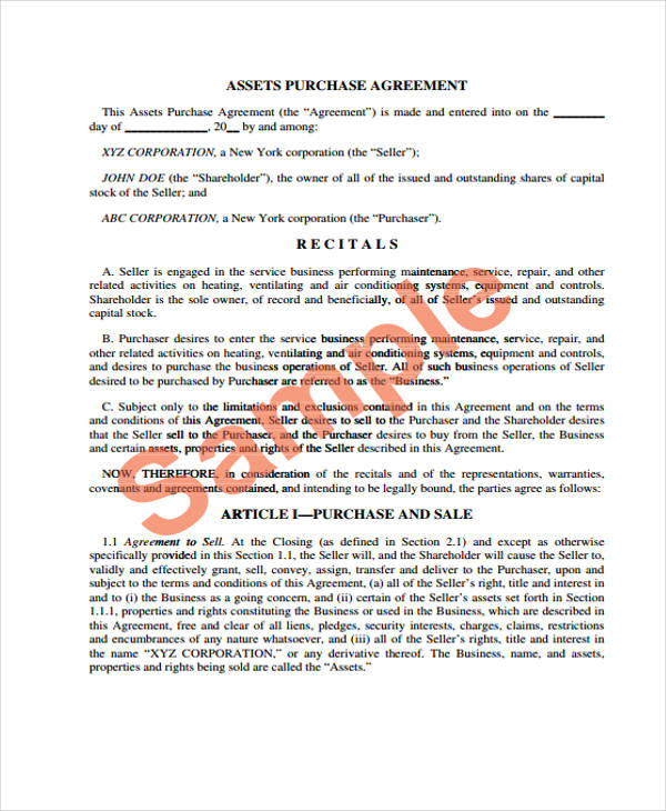 asset purchase sales agreement form