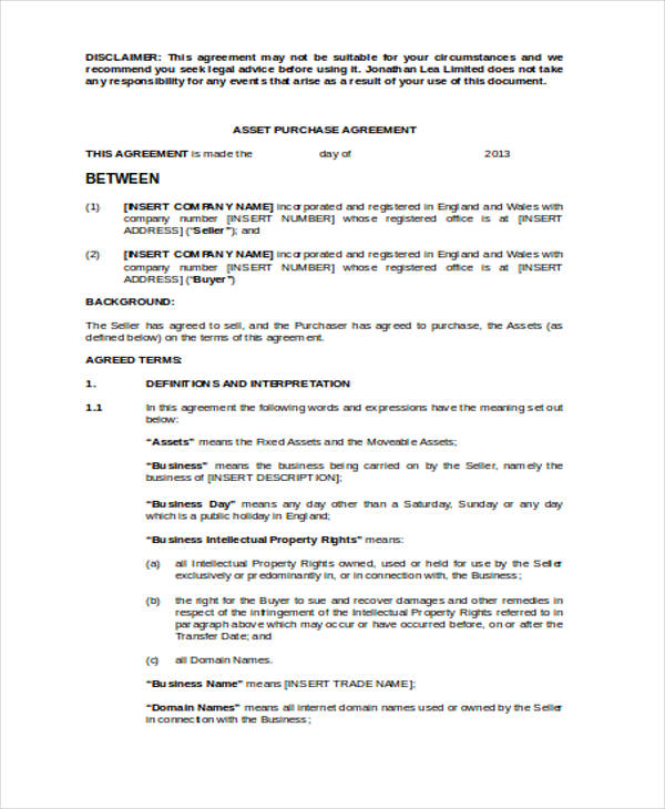asset purchase sales agreement form1
