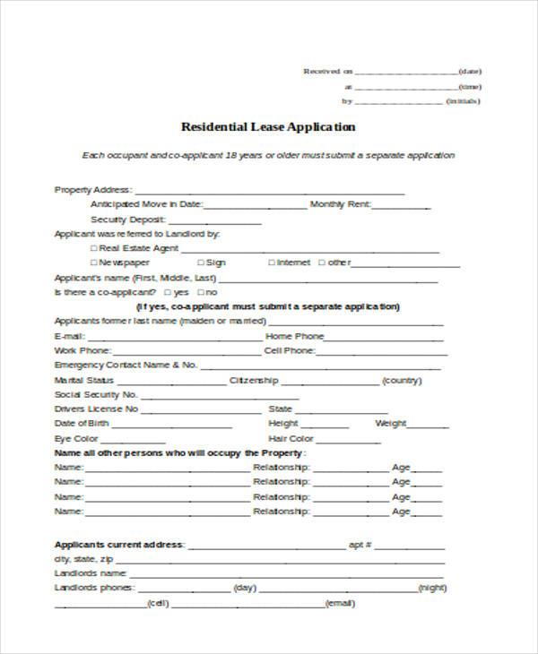association lease application form