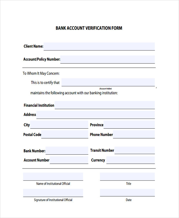 5+ Verification Accounting Form Sample - Free Sample, Example ...