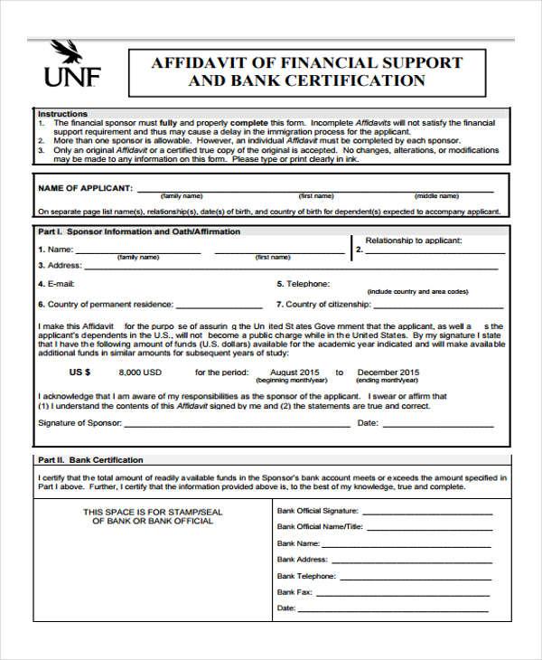 bank certification affidavit form