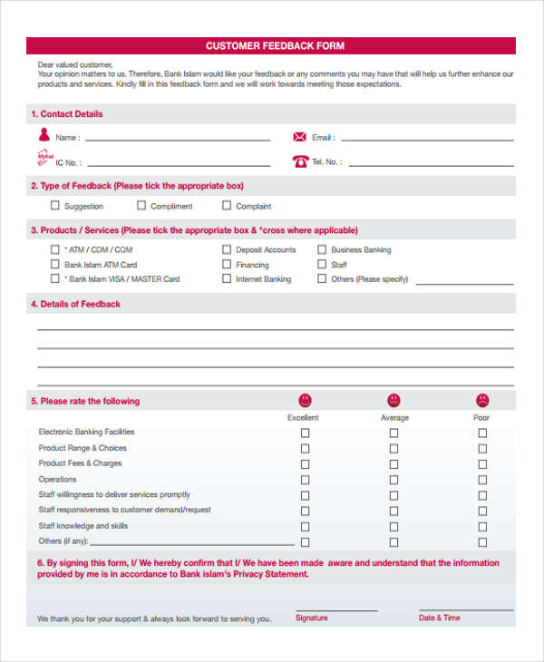 bank customer feedback in pdf