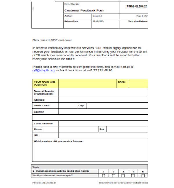 basic customer feedback form