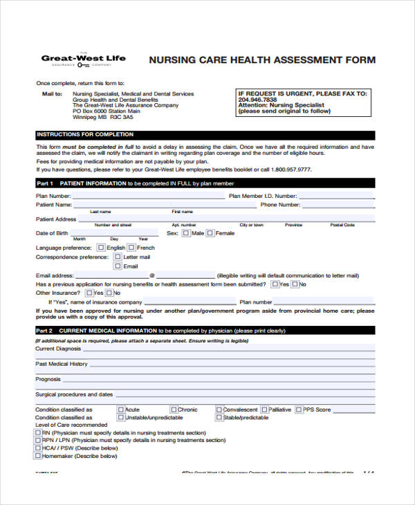 basic nursing assessment form sample