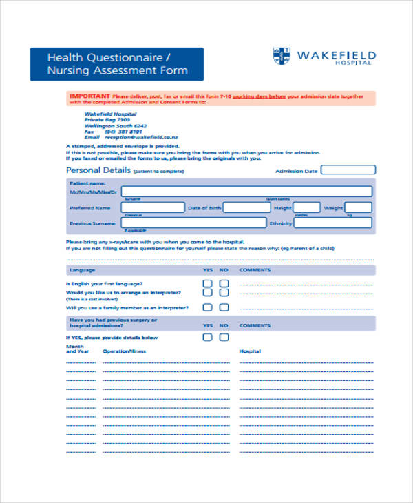 basic nursing assessment form